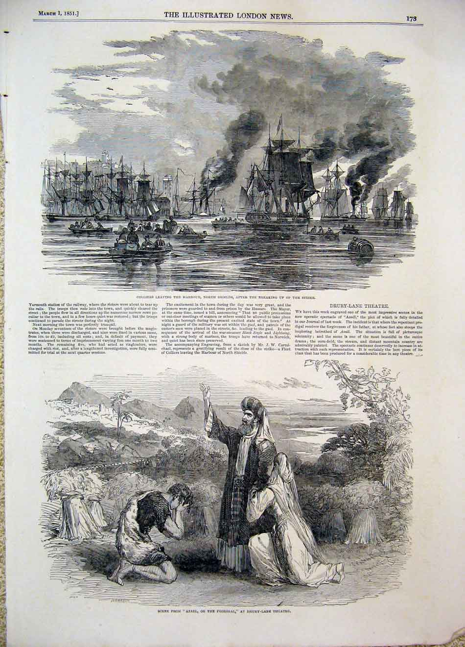 Print Colliers Harbour North Shields Strike Coal Theatre 1851 73Maa0 Old Original