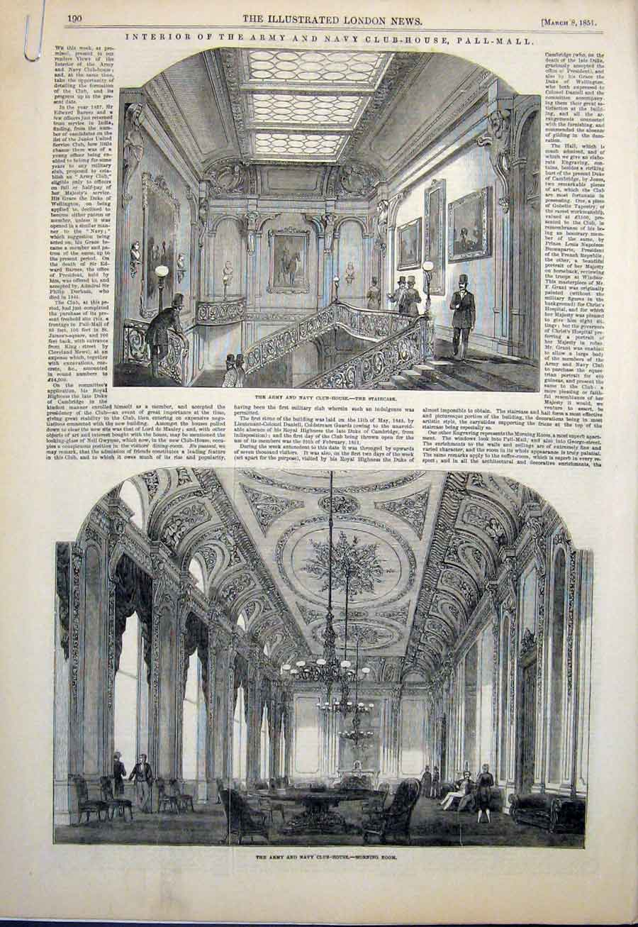 Print Army Navy Club House London Pall Mall 1851 90Amaa0 Old Original