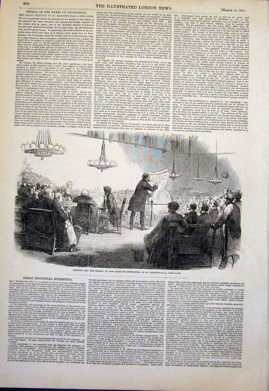 Print Long-Acre St Martin'S Hall Repeal Taxes 1851 20Maa0 Old Original