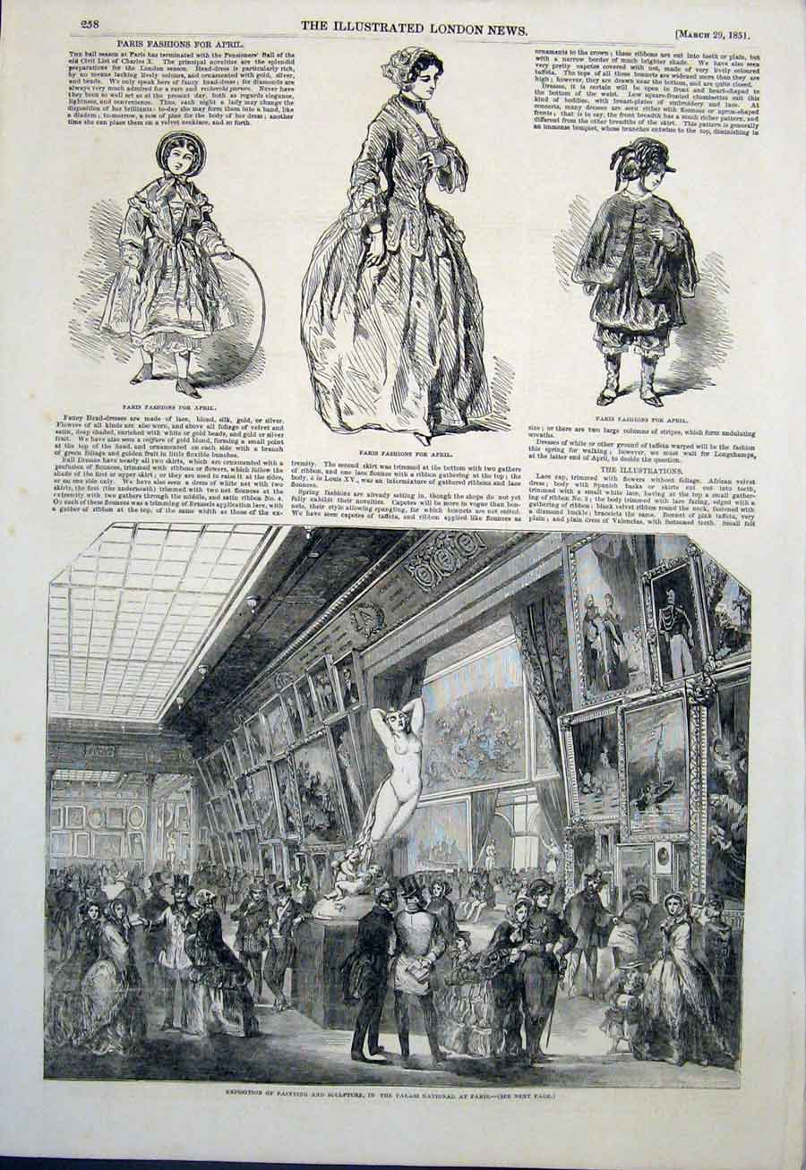 Print Paris Fashion Painting Sculpture Palais Fine Art 1851 58Maa0 Old Original