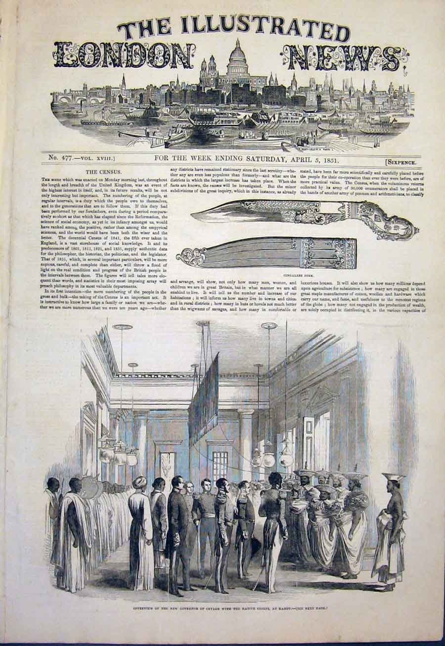 Print Cingalese Dirk Sword Ceylon Kandy Governor 1851 64Maa0 Old Original