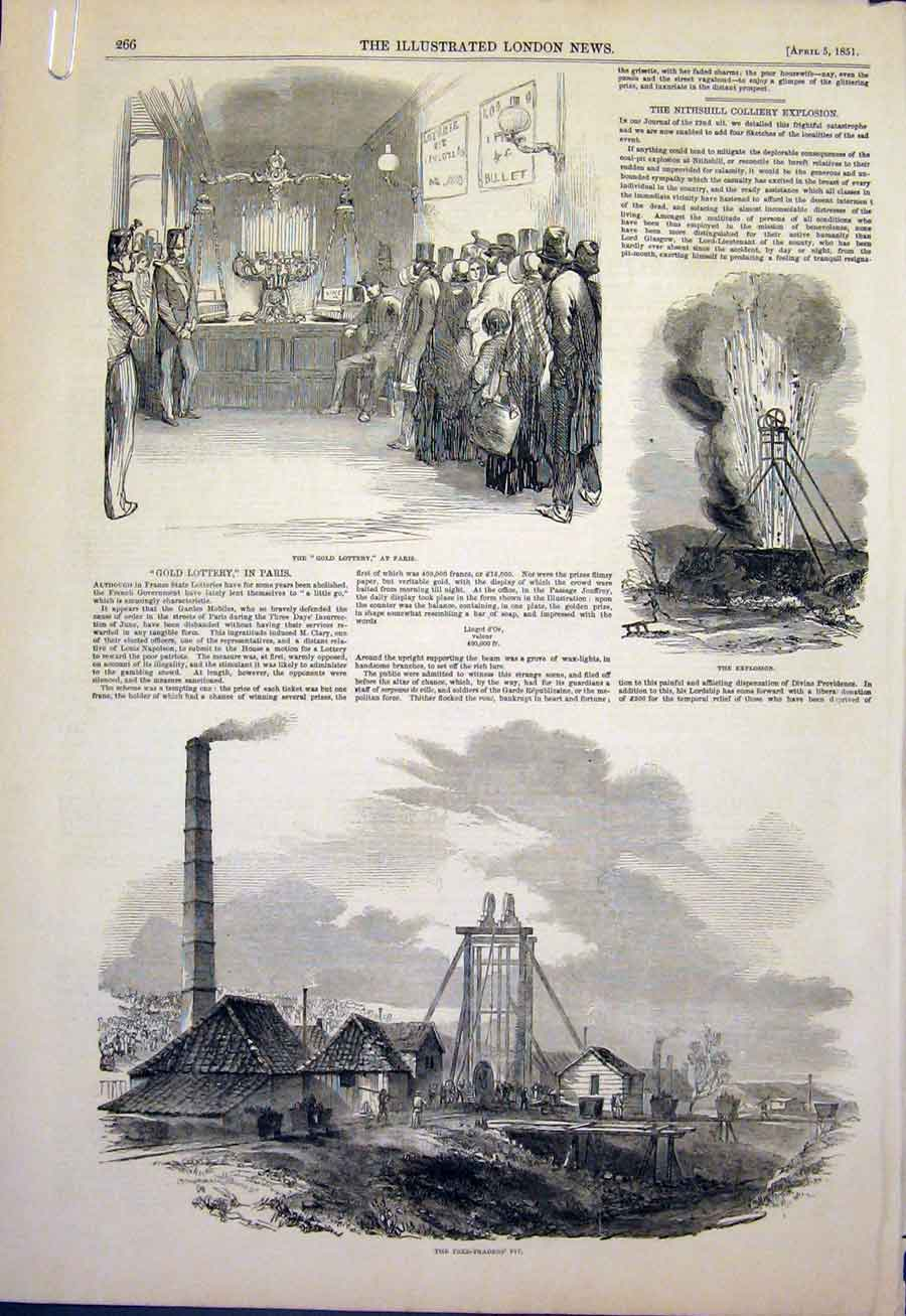 Print Glottery Paris Explosion Pit Pitmen Funeral Church 66Amaa0 Old Original