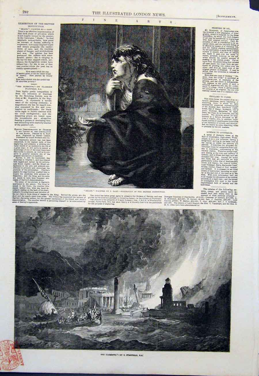 Print Shade Sant Fine Art 1851 The Elements Stanfield 82Maa0 Old Original