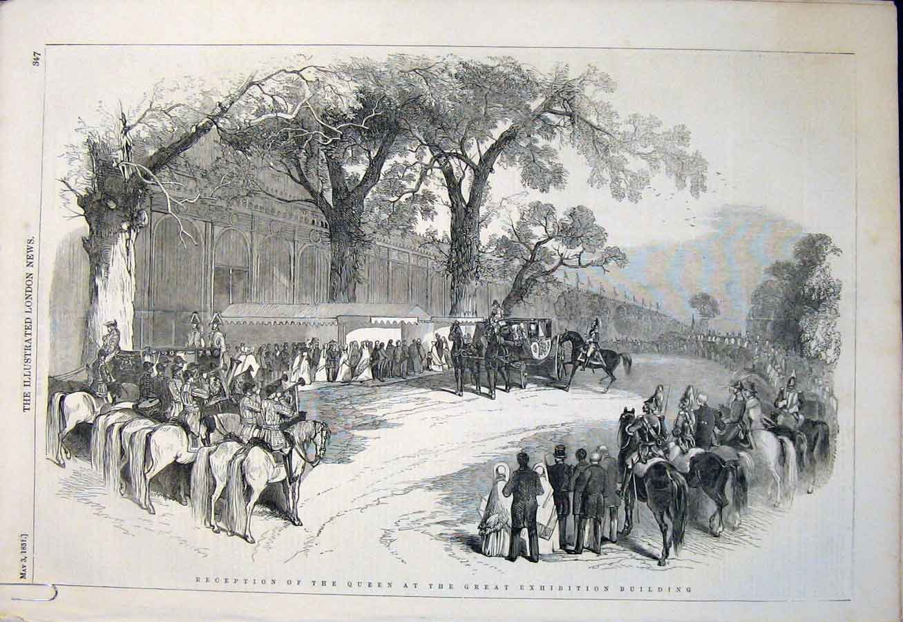 Print Queen Exhibition Building Buckingham Palace 1851 47Amaa0 Old Original