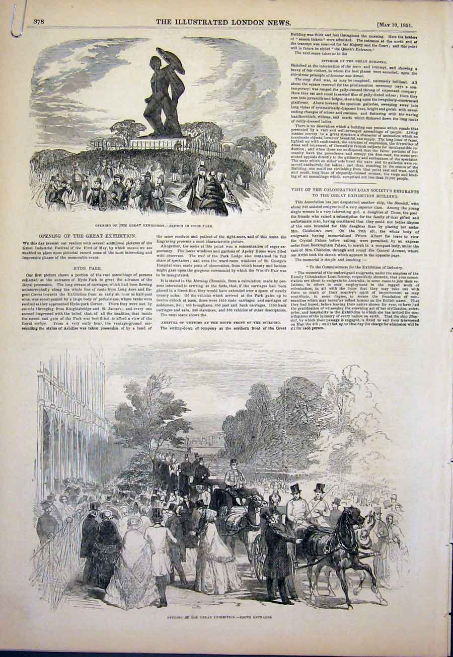 Print Hyde Park Exhibition London 1851 78Amaa0 Old Original