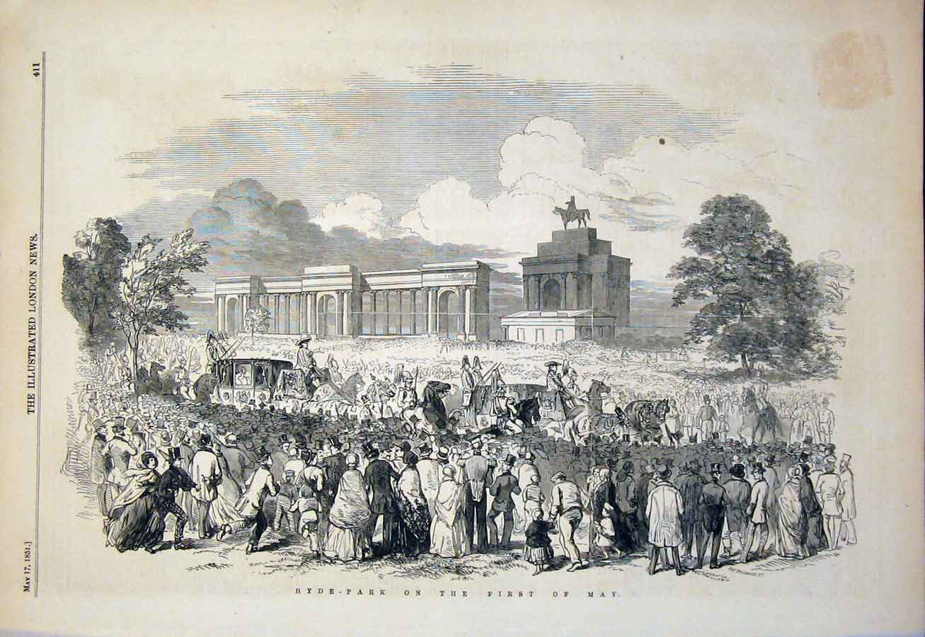 Print Hyde Park London May Procession Festival 1851 11Maa0 Old Original