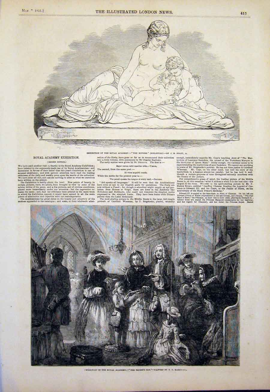 Print Sculpture Mother Foley Squire'S Pew Marshall Art 1851 15Maa0 Old Original