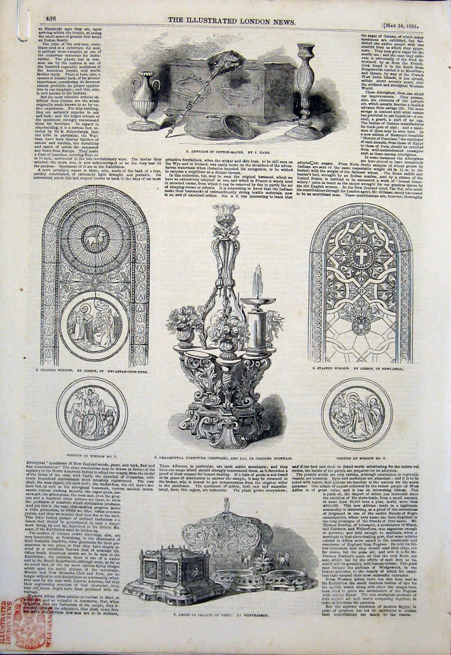 Print Fine Art 1851 Glass Window Stove Pavement 58Amaa0 Old Original