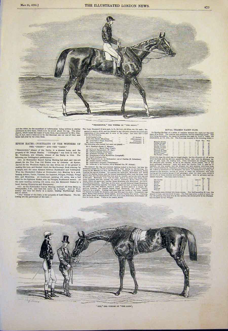 Print Teddington Race Horse Derby Iris Oaks Races Horses 1851 75Maa0 Old Original