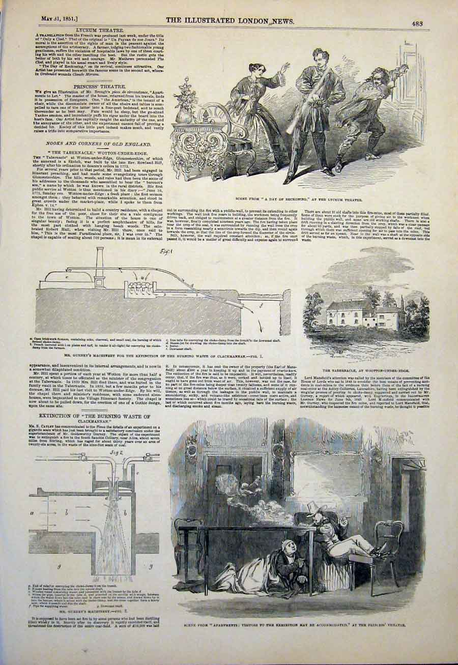 Print Theatre Tabernacle Clackmannan Guerney Machinery 1851 83Maa0 Old Original