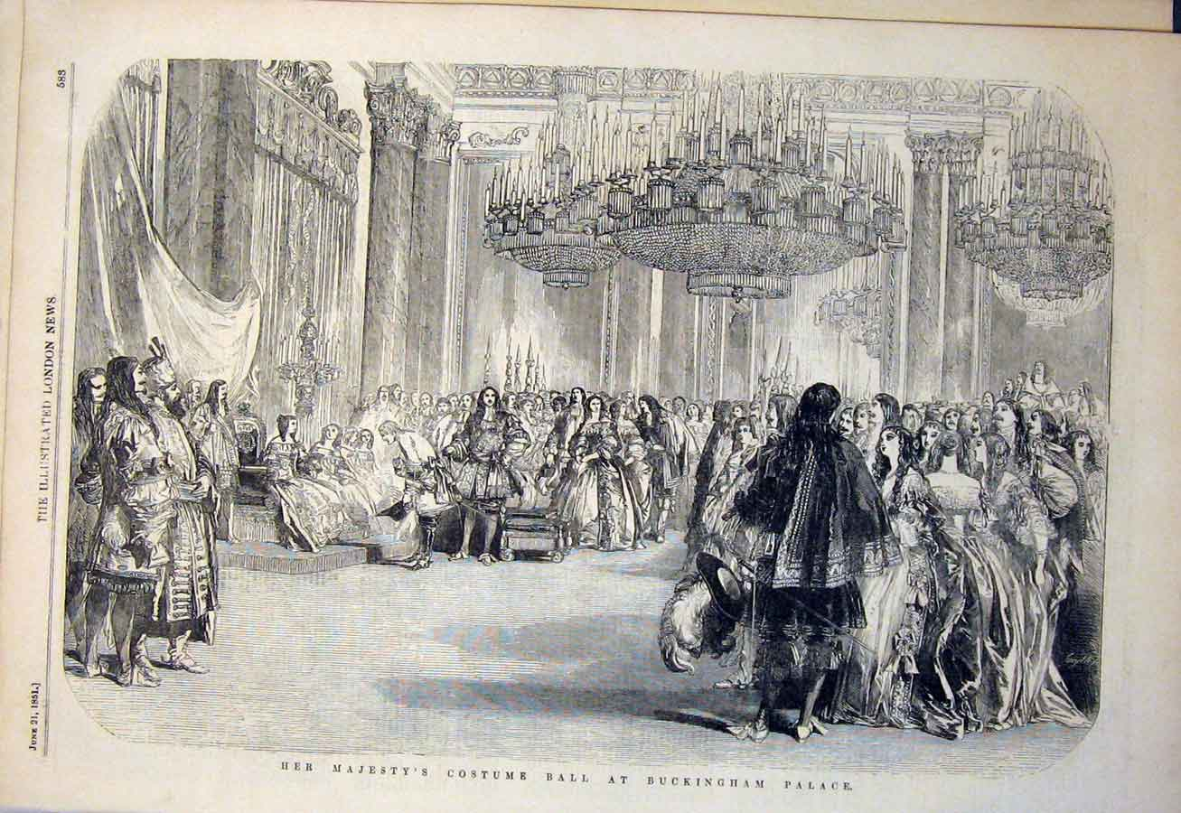 Print Buckingham Palace Costume Ball Costumes 1851 83Amaa0 Old Original