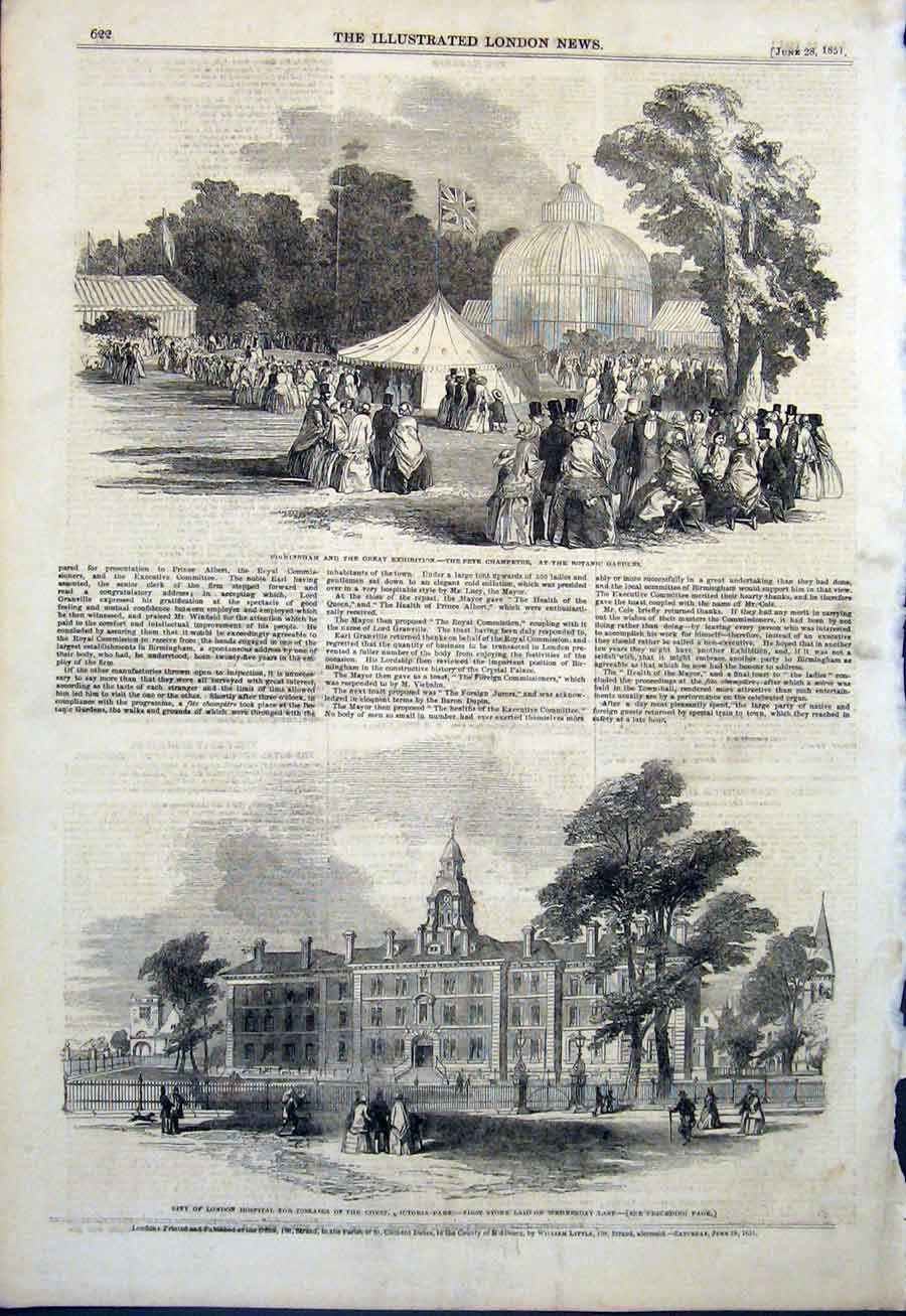 [Print Fete Botanic Garden London Hospital Victoria Park 1851 22Maa0 Old Original]