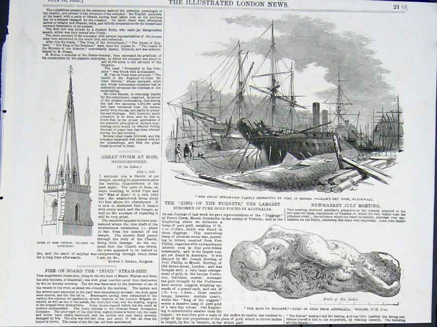 Print The Indus Steam Ship Fire Nugget Gaustralia Church 21Umaa0 Old Original