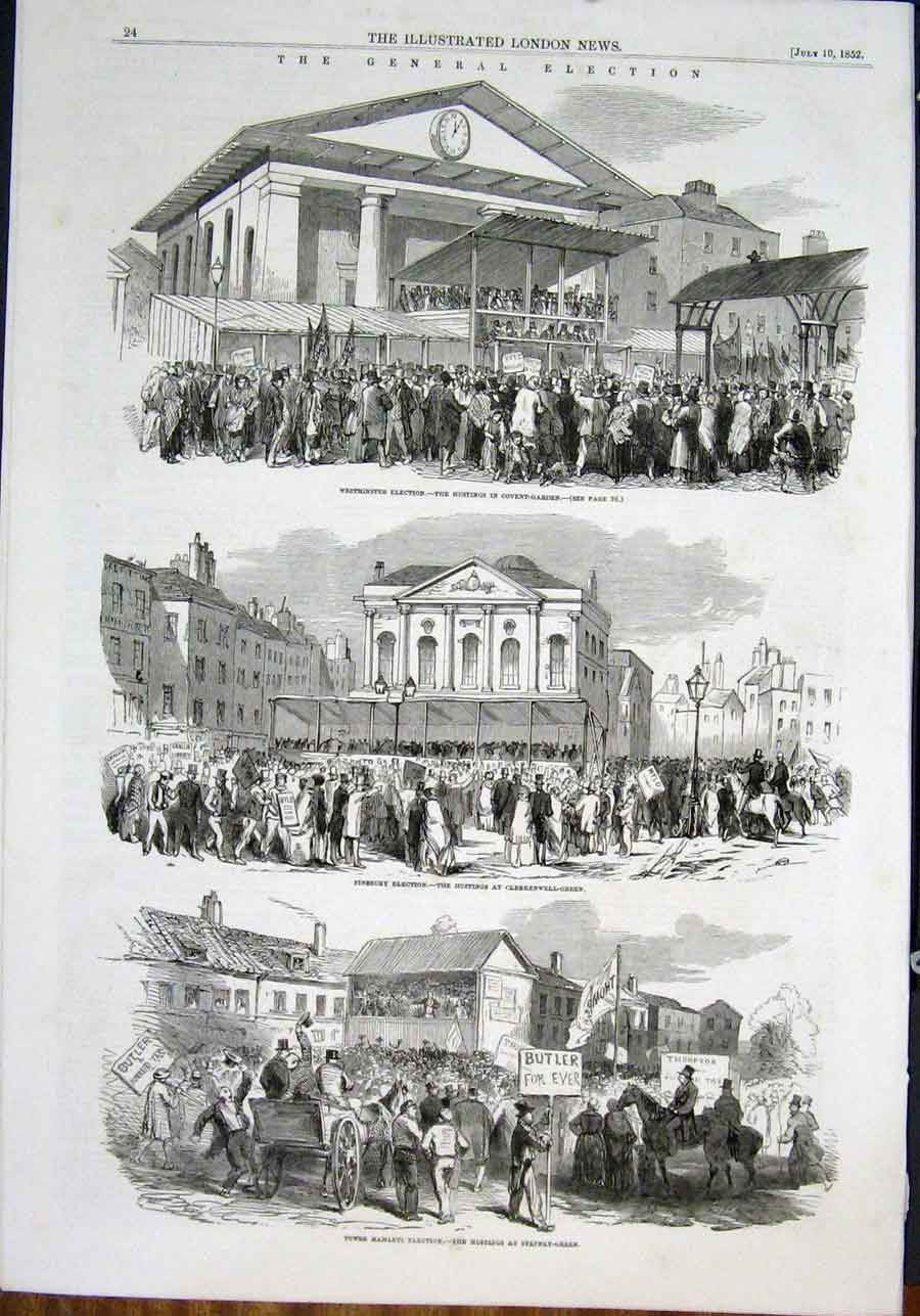 Print General Election Westminster Finsbury Lambeth Greenwich 24Amaa0 Old Original