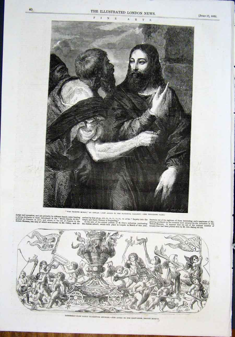 Print Titian Tribute Money Florentine Etching Fine Art 1852 40Maa0 Old Original