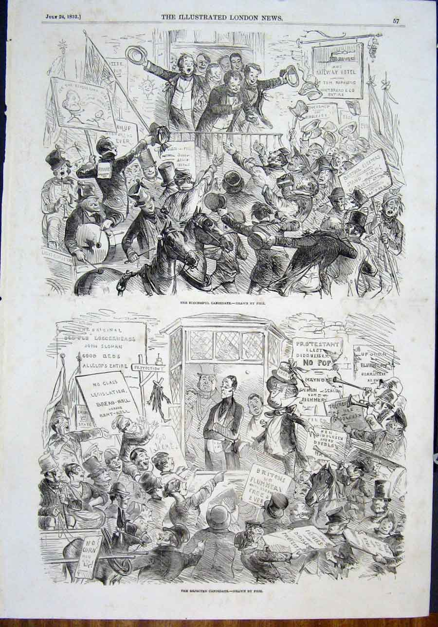 Print Phiz Candidate Election Sketches 1852 57Maa0 Old Original