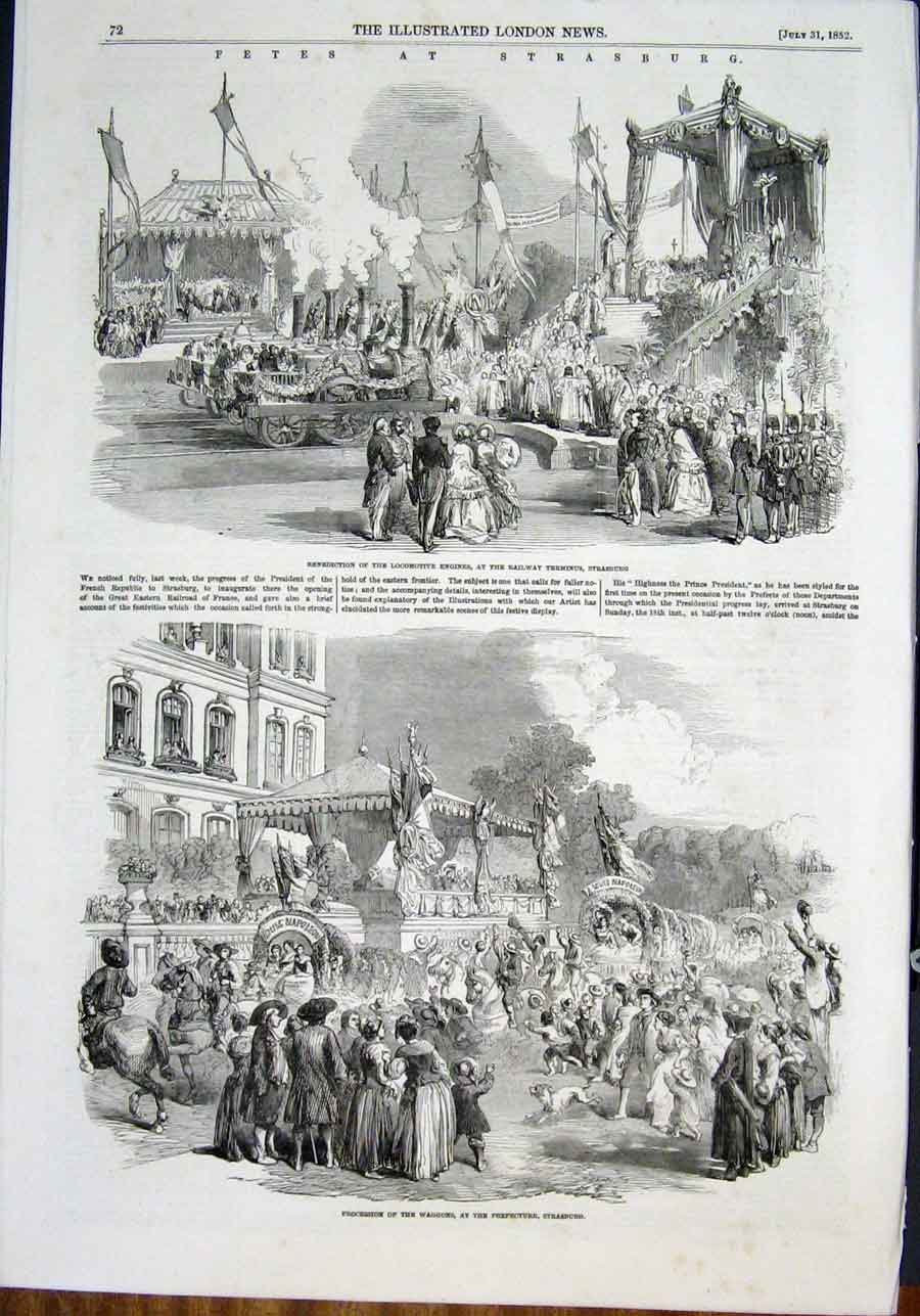 Print Fete Strasburg Germany Locomotive Procession Rhine 1852 72Amaa0 Old Original