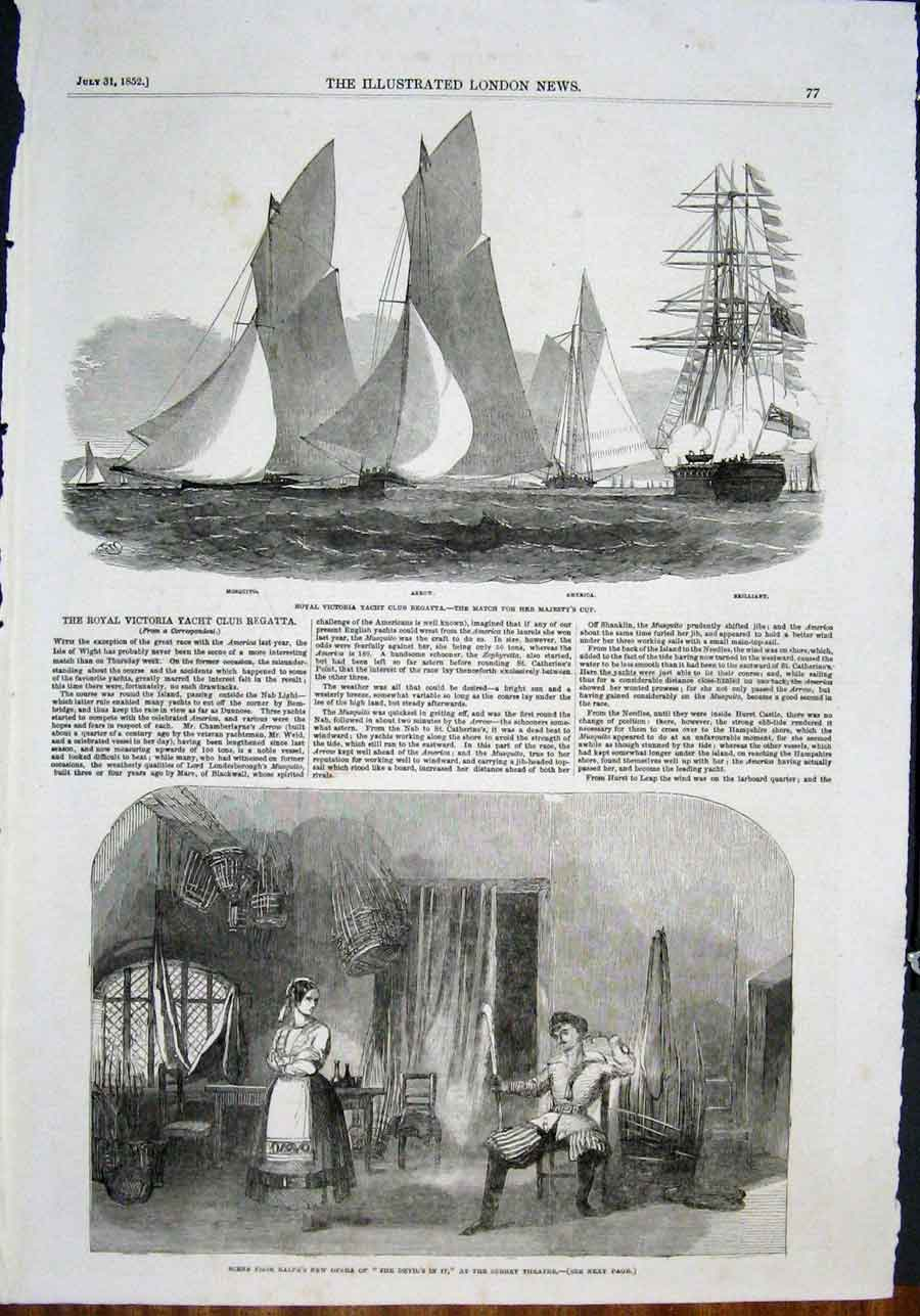 Print Royal Victoria Yacht Regatta Opera Balfe Surrey Theatre 77Maa0 Old Original