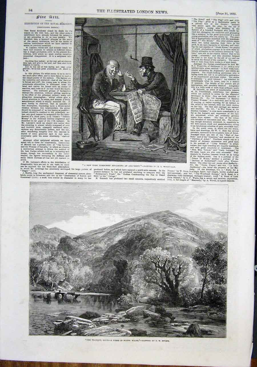 Print Woodville Hulme Mole Highland Yorkshire Fine Art 1852 84Amaa0 Old Original