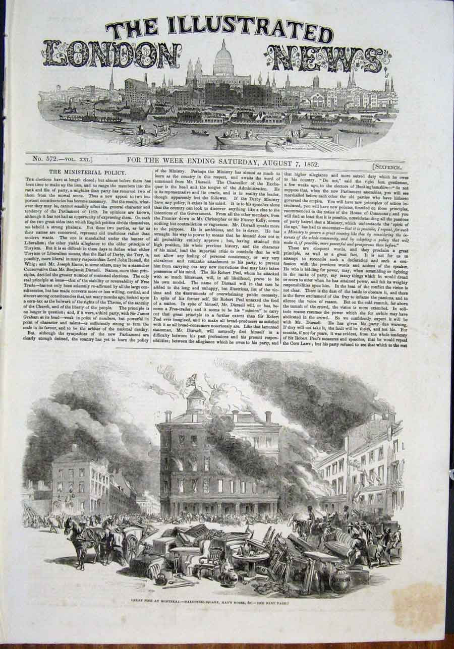 Print Fire Montreal Dalhouse Square Hay'S House 1852 90Maa0 Old Original