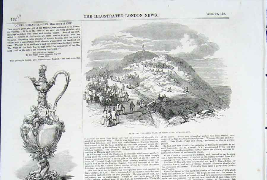 Print Cowes Regatta Cup Blue Flag Cross Fell Cumberland 1852 32Umaa0 Old Original