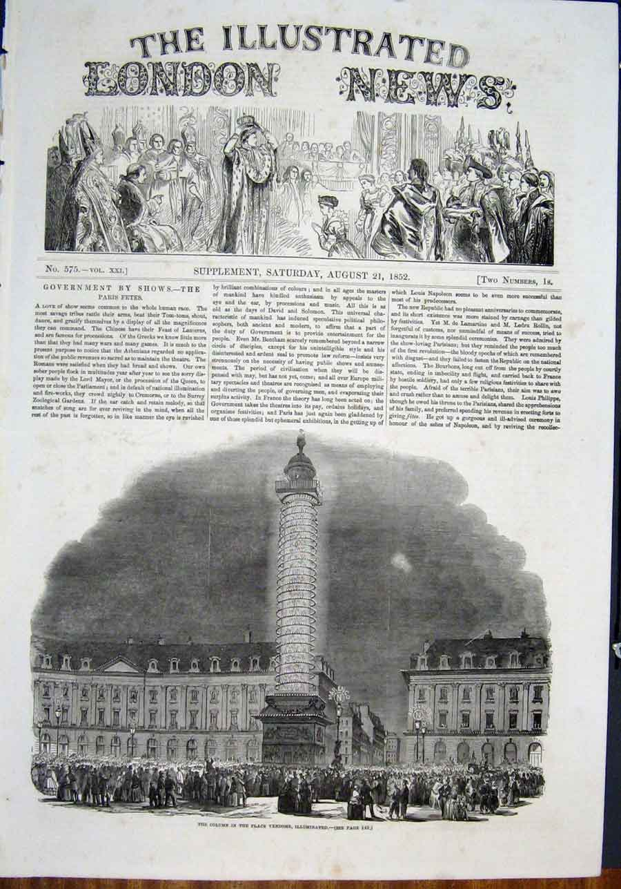 Print Column Place Vendome Paris France Illuminated 38Maa0 Old Original