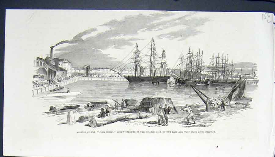 Print John Bowes Screw Steamer Collier Dock Railway 56Lmaa0 Old Original