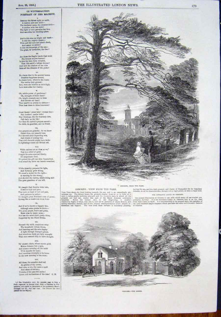 Print Osborne Park Lodge London Queen Royal 1852 73Maa0 Old Original