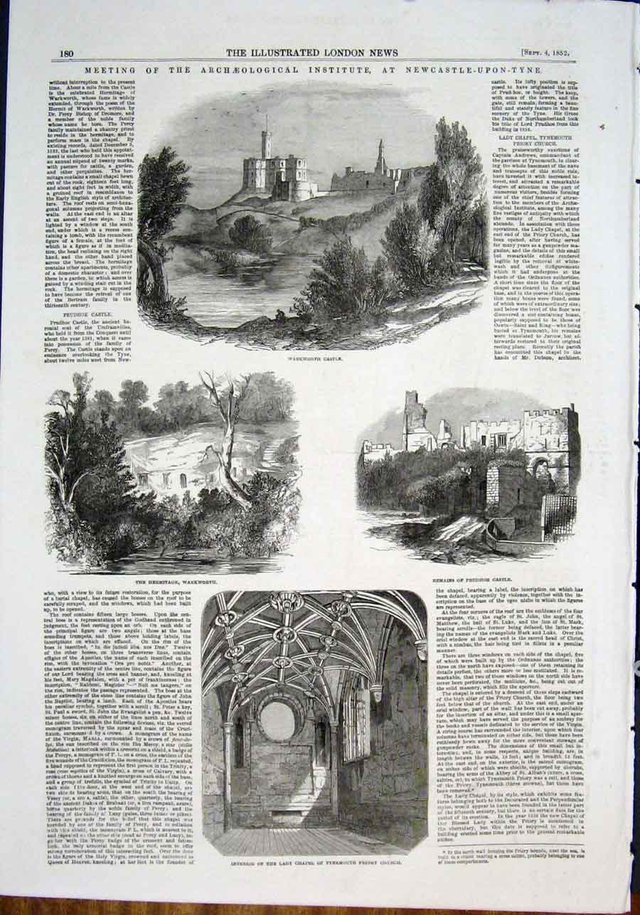 Print Warkworth Castle Archeological Institute Prudhoe 1852 80Maa0 Old Original