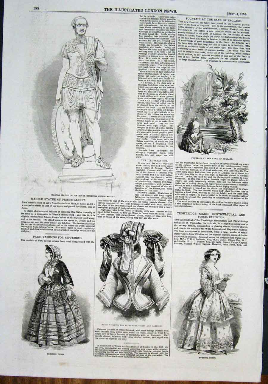 Print Statue Marble Albert Fashion Fountain Caps Cazenou 1852 88Maa0 Old Original
