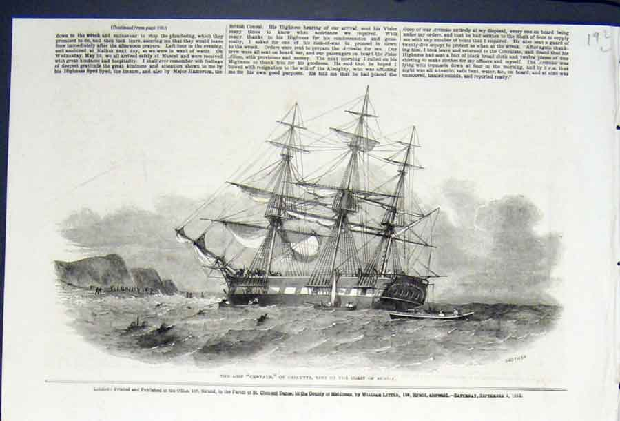 Print Ship Centaur Calcutta Arabia Wreck 1852 92Lmaa0 Old Original