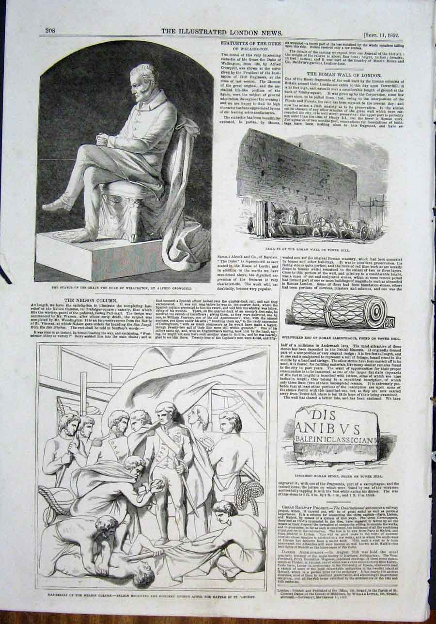Print Statue Wellington Crowquill Roman Wall Nelson Column 08Maa0 Old Original