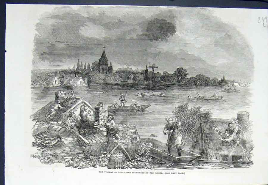 Print Boucharge Rhone Flood River Village Flooded 1852 49Lmaa0 Old Original