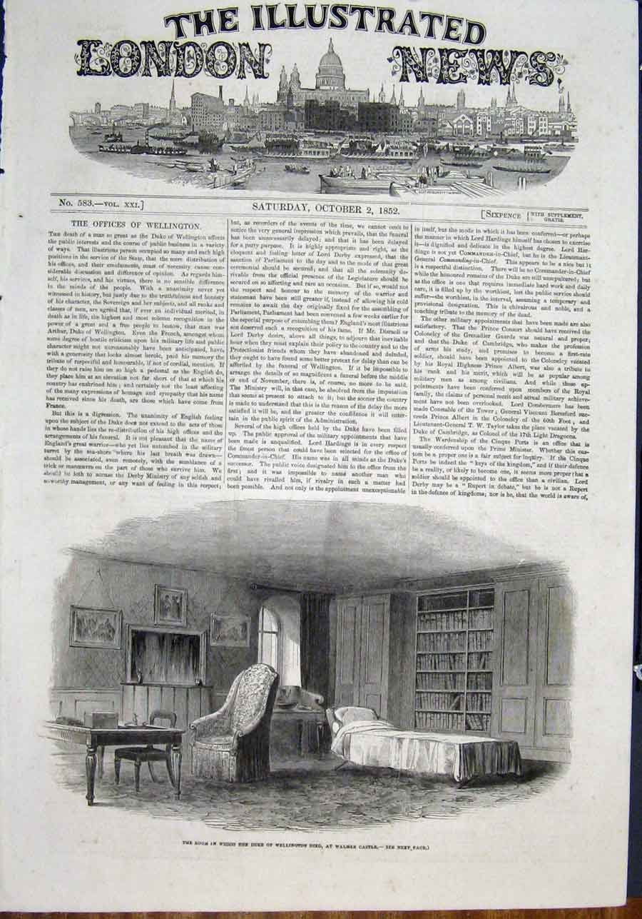 Print Wellinton Walmer Castle Room 1852 74Maa0 Old Original