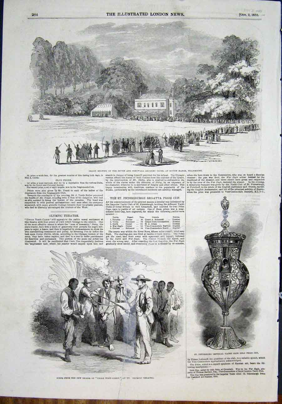 Print Teignmouth Archery Devon Cornwall Yacht Club Cup 1852 84Maa0 Old Original