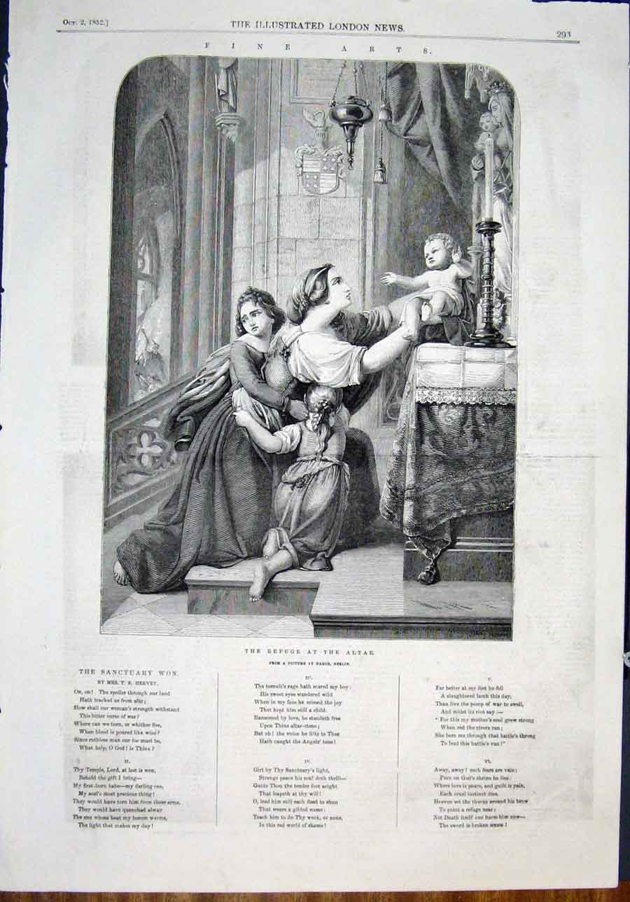 Print Daege Berlin Altar Church Child Fine Art 1852 93Maa0 Old Original