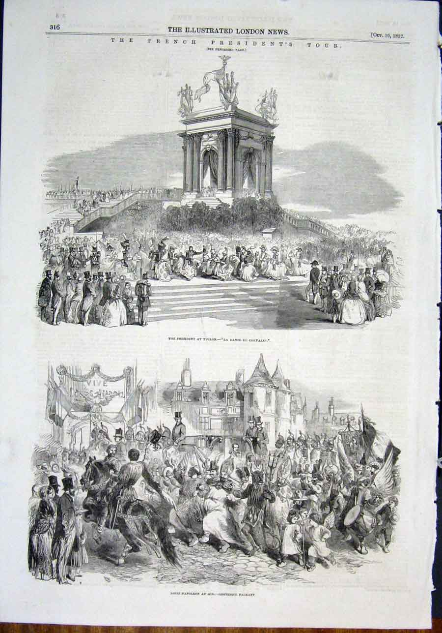 Print French Toulon Aix Pageant France Dance Napoleon 1852 16Maa0 Old Original