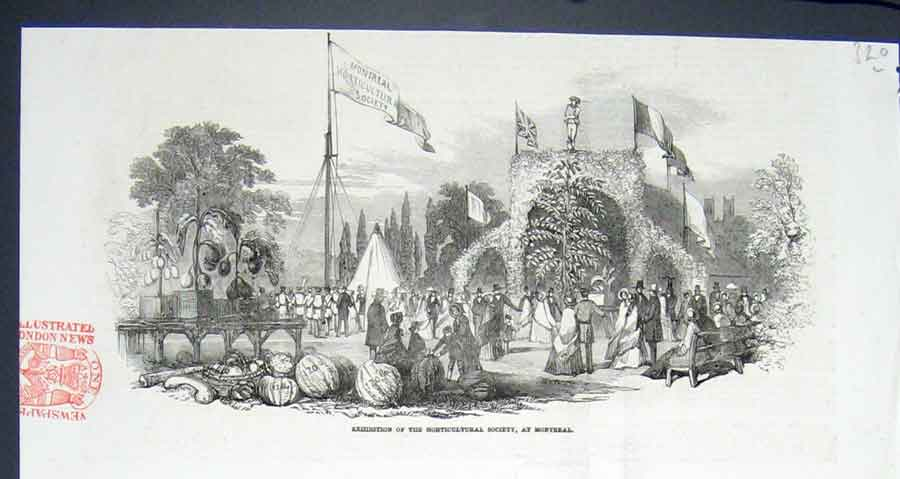 Print Exhibition Horticultural Society Montreal Canada 1852 20Lmaa0 Old Original