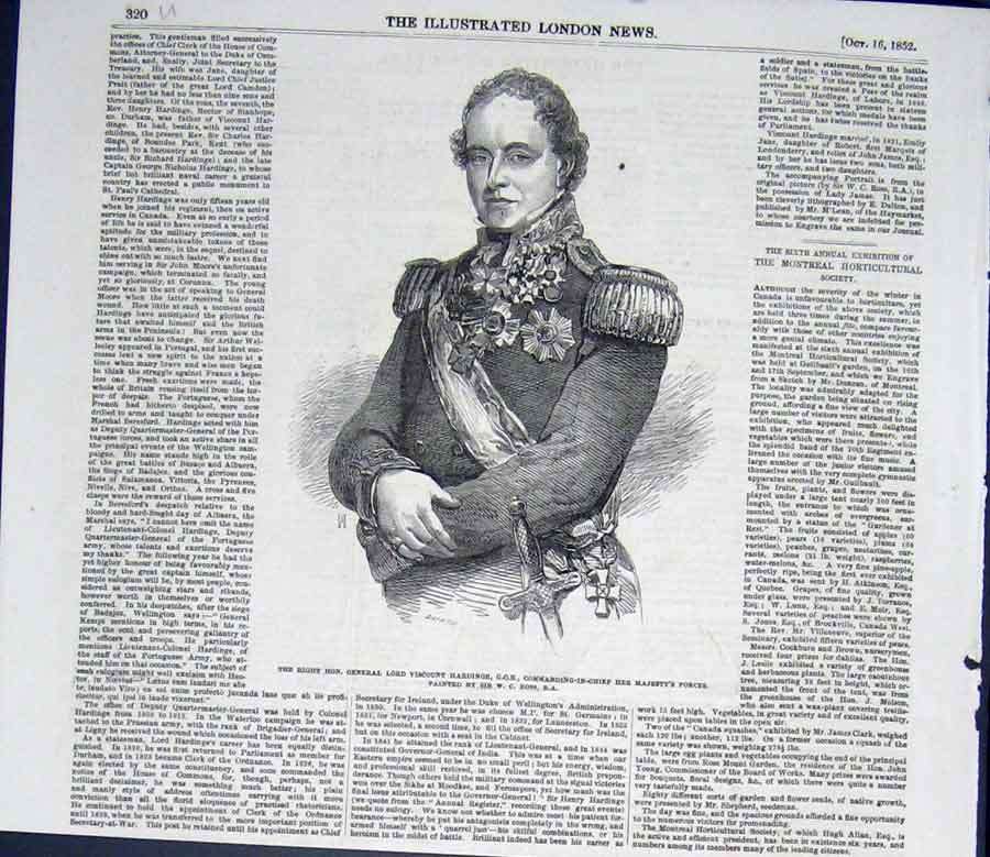 Print Portrait General Lord Viscount Harding Ross Art 1852 20Umaa0 Old Original