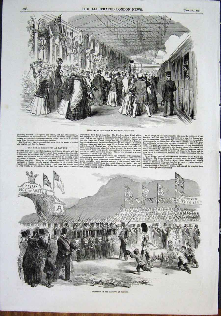 Print Chester Station Queen Bangor Wales 1852 36Maa0 Old Original