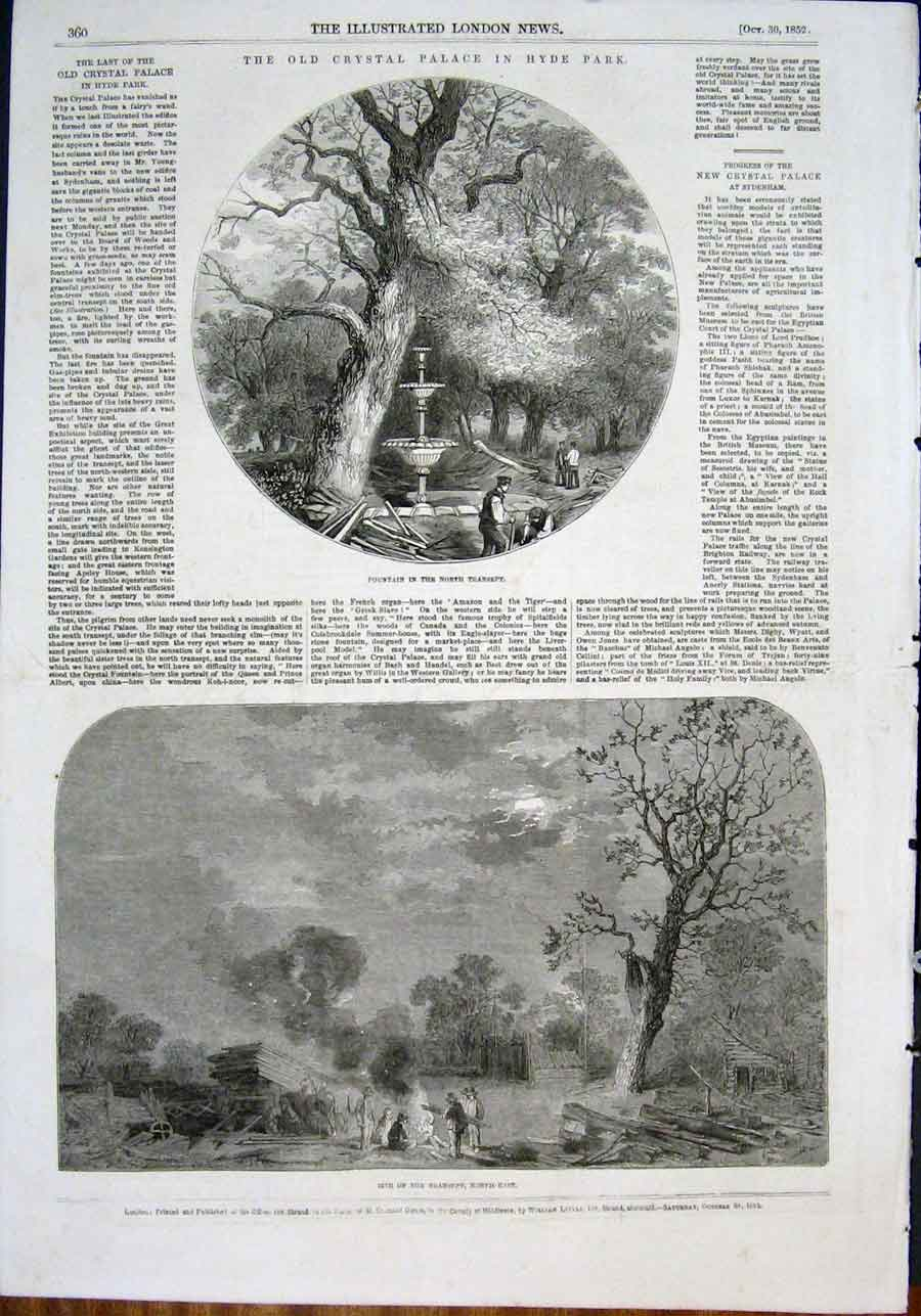 Print Crystal Palace Hyde Park London Fountain 1852 60Maa0 Old Original