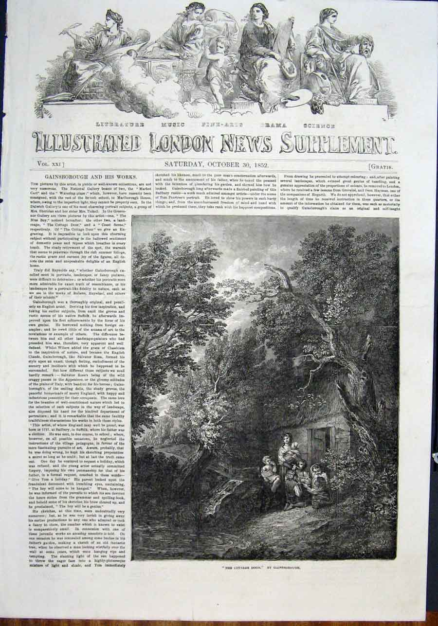 Print The Cottage Door Gainsborough Fine Art 1852 62Maa0 Old Original