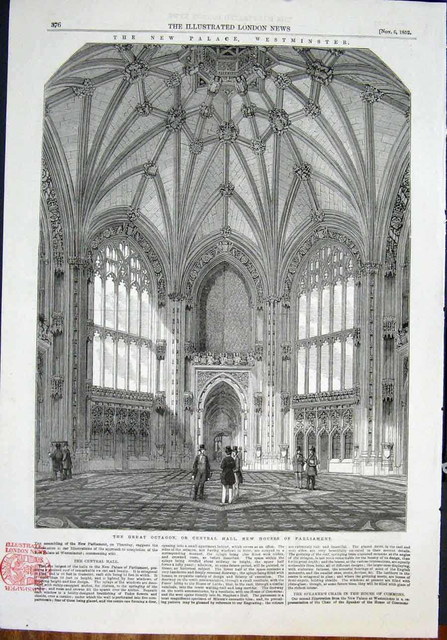 Print Palace Westminster London Hall Octagon Parliament 1852 76Maa0 Old Original