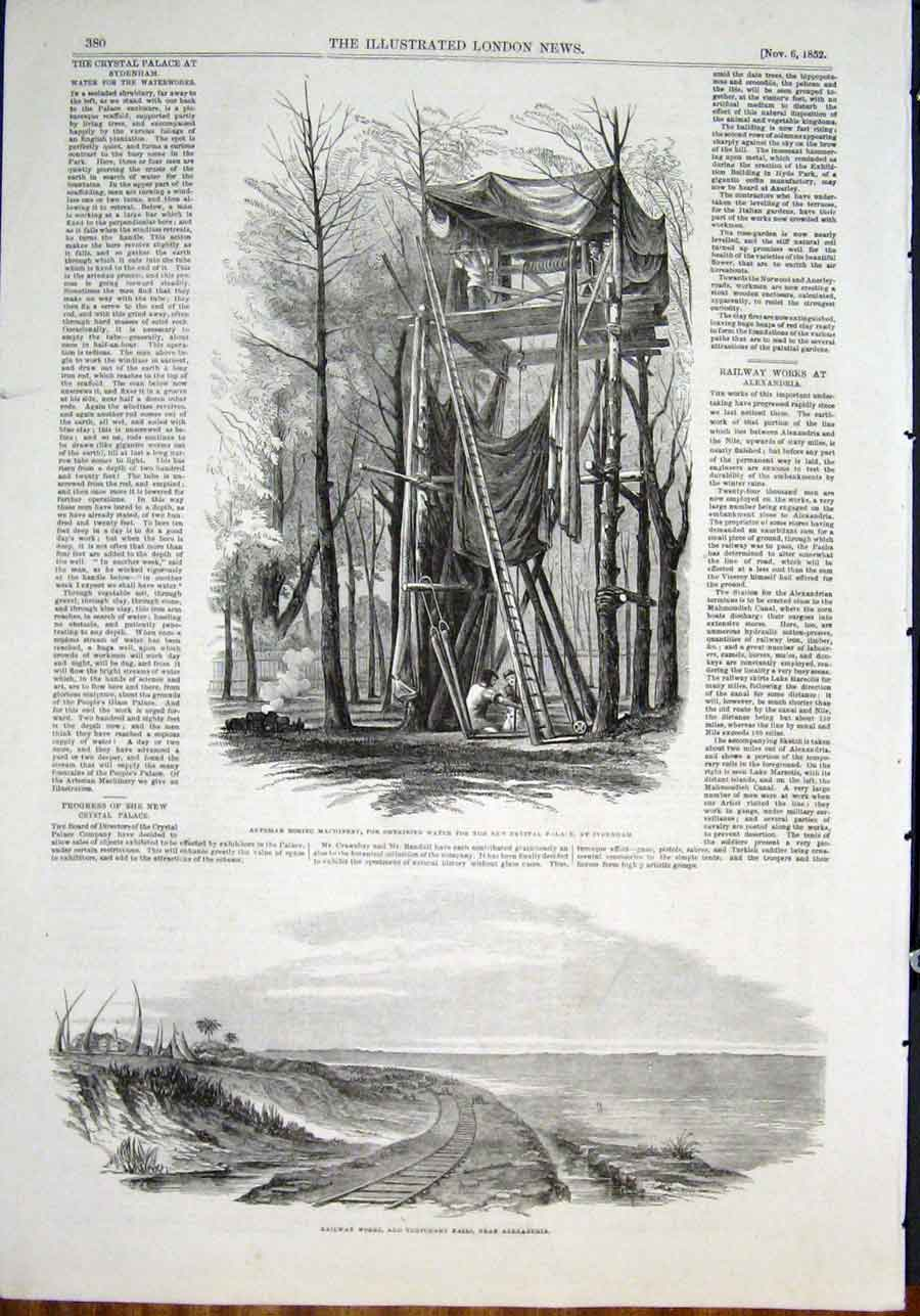 Print Boring Machinery Water Crystal Palace Sydenham Railway 80Maa0 Old Original