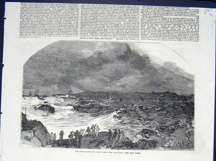 Print Northumberland Coast Gale Sea Storm 1852 97Lmaa0 Old Original