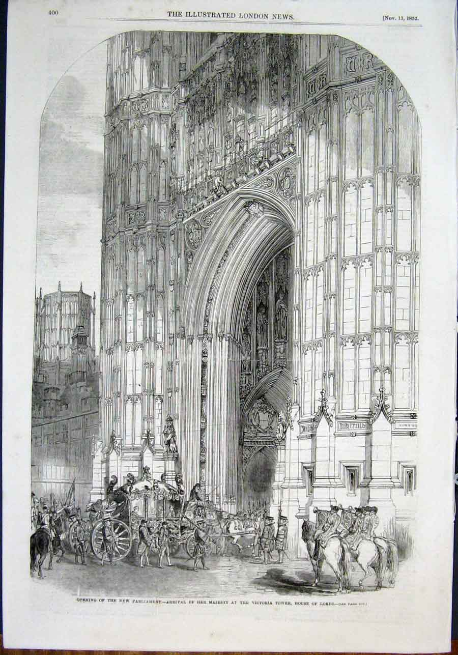 Print Parliament Victoria Tower House Lords Gallery 1852 00Amaa0 Old Original