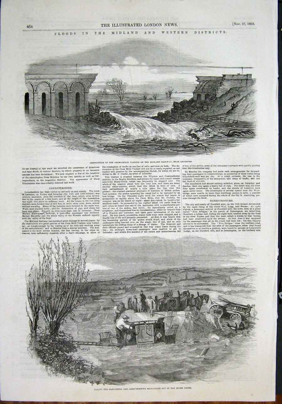 Print Floods Midlands Leicester Frome Ealing Mail Train 1852 64Amaa0 Old Original