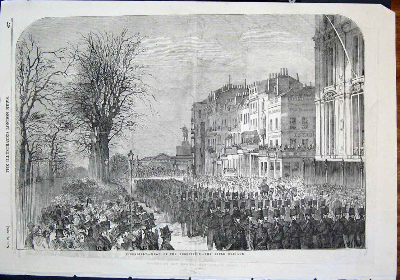 Print Wellington Funeral Procession Piccadilly Rifle Brigade 77Maa0 Old Original