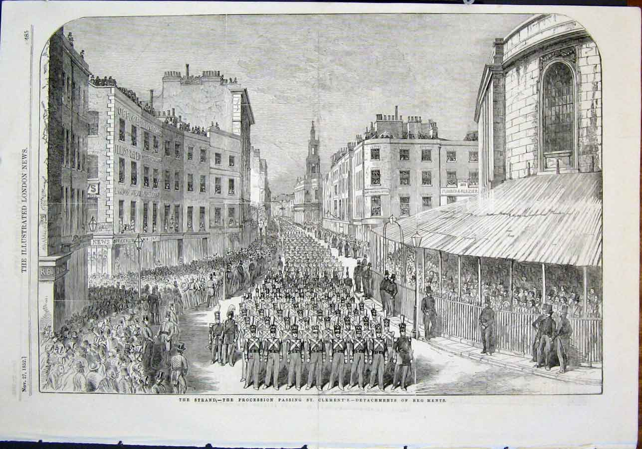 Print Wellington Funeral Procession The Strand St Clement'S 85Maa0 Old Original