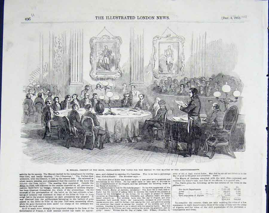 Print Berger Prefect Seine Election Votes 1852 96Umaa0 Old Original